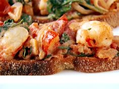 Bruschetta with Shrimp, Tarragon and Arugula from FoodNetwork.com