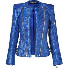 BALMAIN Gipsy Blue Woven Biker Jacket - Polyvore