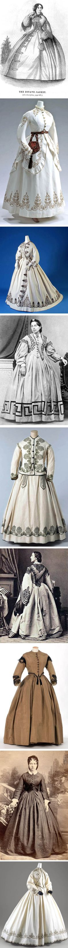 The Zouave dress was very popular in Europe and America in the 1850s-60s. The Zouaves were a French light infantry regiment that served in north Africa in the mid-19th century.