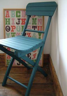vintage blue kids chair