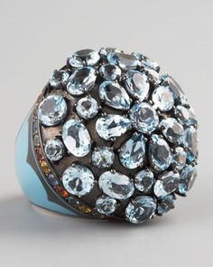 MCL by Matthew Campbell Laurenza Blue Topaz Dome Ring.