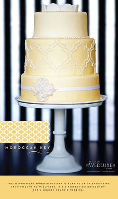 Yellow fondant cake with a beaded Moroccan key pattern, The Uncommon Cake.  #wedding #bridal #cake