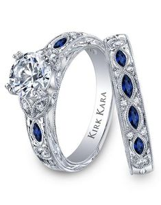 Sapphire and diamond wedding ring set