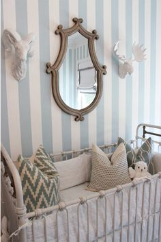 pillow, mirror mirror, crib, bed, striped walls