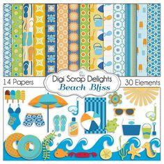 Beach Digital Scrapbook Kit in Summer Orange & Aqua for Digital Scrapbooking, Crafts, Cards, Photographers,
