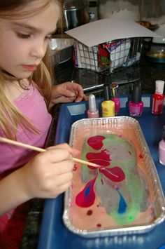 Nail-polish marbling - great idea for all those old nail polish colours you no longer use!