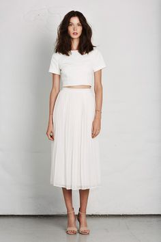 Joie Spring 2014 midi skirts, casual summer, crop tops, white fashion, fashion styles, white outfits, spring 2014, joie spring, maxi skirts