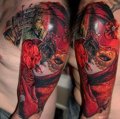 tattoo idea, men tattoos, venetian masks, tattoo artists, mask tattoo
