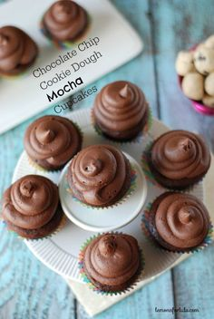Chocolate Chip Cookie Dough Mocha Cupcakes - Chocolate cupcakes with a little cookie dough hidden inside and topped with rich mocha buttercream! #cupcakes #cupcakeideas #cupcakerecipes #food #yummy #sweet #delicious #cupcake