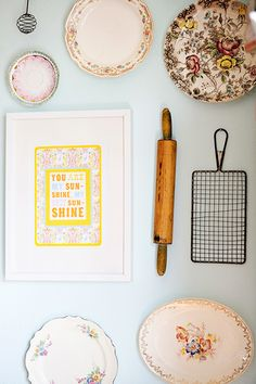 Idea: a frame made from vintage rolling pins! How would one hang that, @Brandy Hackerott?