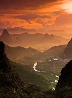 landscap, mountains, moon mountain, natur, beauti, travel, place, guangxi, china
