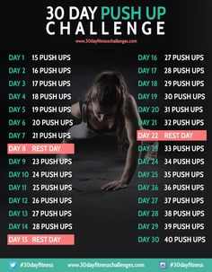 30 Day Push Up Challenge Workout Fitness Chart
