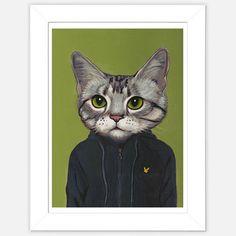 Framed Cat Print Vincent  by Heather Mattoon