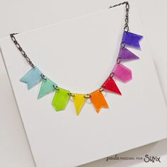 Crafting ideas from Sizzix UK: A rainbow necklace made with shrink plastic and a Bigz banner dies