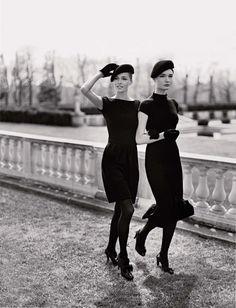 paris fashion, matching outfits, parisian style, black white, fashion hats, belle, beret, little black dresses, parisian chic