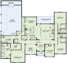 I like how the laundry connects to master closet. I think I would move the master to the back and the garage to the front.  Then you could have access to the back deck.  Extend the grilling porch to the full length of the back of the house, screen it in and add an outdoor fireplace. Perfect floor plan!