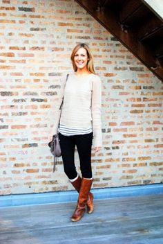 Long tee under sweater with leggings and boots