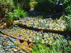 """Bottle """"bottom"""" pathways in the garden"""