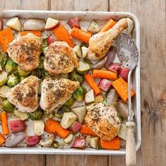 One-Pan Roast Chicken with Root Vegetables (I would leave out the Brussels sprouts)