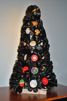 A Christmas tree from recycled vinyl records.