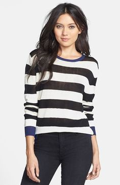 Black & White Sheer Stripe Sweater with Navy Trim | Nordstrom