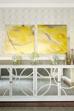Get the look : Leah Low Cabinet - Worlds Away | mirrored storage console with large yellow artwork