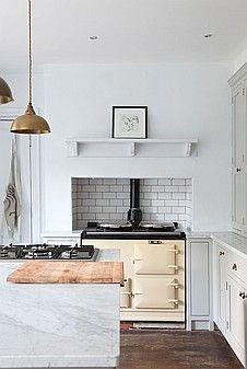 marble + brass white kitchen