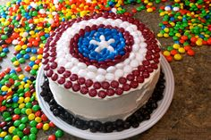 How to Decorate a Captain America Shield Cake using M&Ms, decorating tutorial plus Best Ever Chocolate Cake recipe.  #HeroesEatM&Ms #recipes #shop #dessert #cbias #cakedecorating