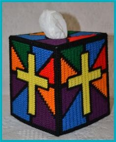 Stained Glass Cross Tissue Box Cover