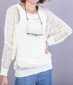 White Hollow Avatar Print Batwing Long Sleeve Sweater