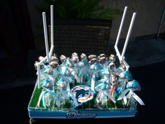 Miami Dolphins Cake pops football stadium