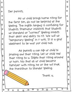 Inventive Spelling Letter to Parents