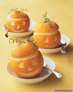 Orange jack-o'-lanterns filled with sorbet