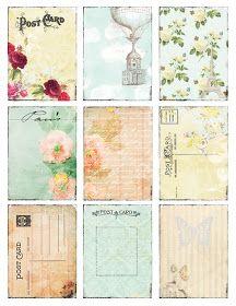 vintage postcards, printable cards, soft colors, summer freebi, dear brighton, old postcards, project life cards, journal cards, vintage cards