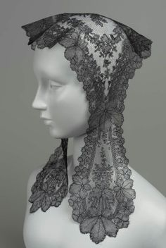 Black Chantilly Lace Flat Cap, French, Mid-19th Century. Great basic cap shape!