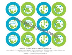 LynnetteArt: Green Dinosaur Birthday Party hat, cupcake toppers and happy birthday banner