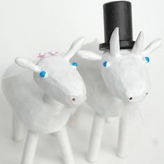 goat wedding cake toppers from bunnywithatoolbelt.com