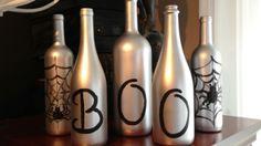 Classy Halloween Wine Bottle Crafts wines, halloween wine bottle crafts, halloween wine bottles, idea, wine bottle decorations, fall wine bottle crafts, craft blogs, holiday decor, bottl craft