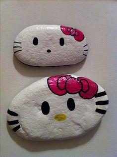 Hello kitty painted rocks