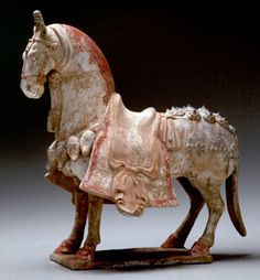 Chinese horse, Eastern Wei dynasty, (534–550 AD), polychrome ceramic. Well modeled and colored. Very similar in style and size to the older T'ang Dynasty models.