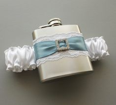 White & Antique Blue FLASK GARTER  Bridal by MoonshineBelle, $40.00