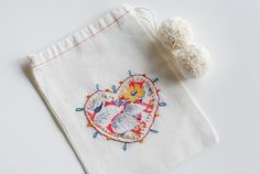 embroidered muslin bags