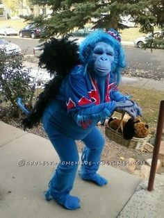 Original Blue Flying Monkey Homemade Halloween Costume. Awesome!