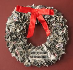 Mom-Wreath made of Army camo uniforms tie with gender specific bow?!