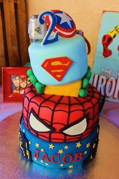 Awesome CAKE from this Vintage Superhero themed birthday party with SUPER AWESOME IDEAS via Kara's Party Ideas | KarasPartyIdeas.com #vintageboyparties #supeheroes...