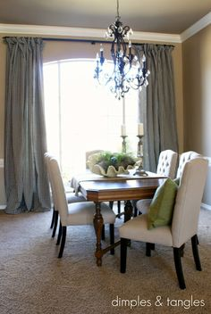 decor, dining rooms, sewing, dimples, curtains, dine room, chairs, room idea, window treatments