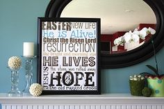 pretty spring mantel with Easter subway art printable!