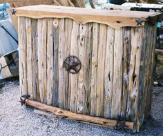 Cedar Log Bar or Rustic Western Retail Counter by jamesrobinson, $2395.00 I have something like this on my porch