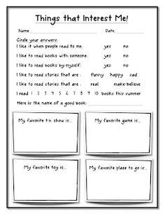 The Teacher Organizer: Things that Interest Me!... Kid Survey