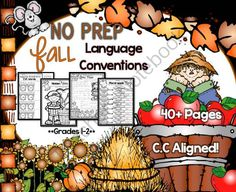 No Prep Fall Language Conventions Grammar PrintablesGrades 1-2 from SeaofKnowledge on TeachersNotebook.com -  (42 pages)  - This pack was created to target grammar skills. There are lots of printables available for literacy but I needed a specific pack to target grammar and language conventions for grades 1 and onward. I u